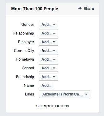 Facebook filters to help you find others with similar interests.