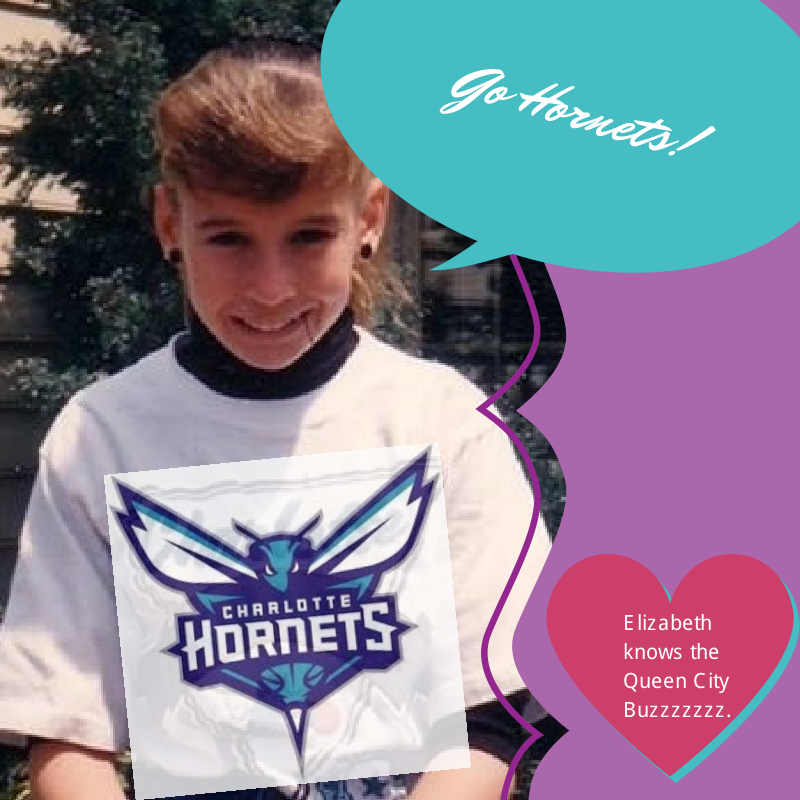 This was right after the Hornets returned to Charlotte. Elizabeth and I were raised in Charlotte.