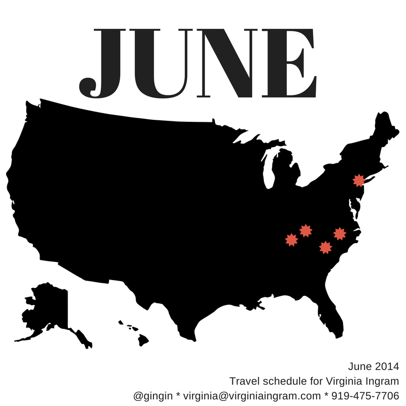 My planned travel for June 2014.