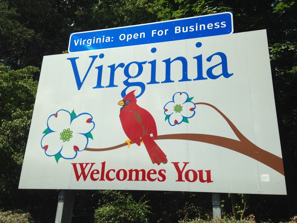 Virginia welcome sign.