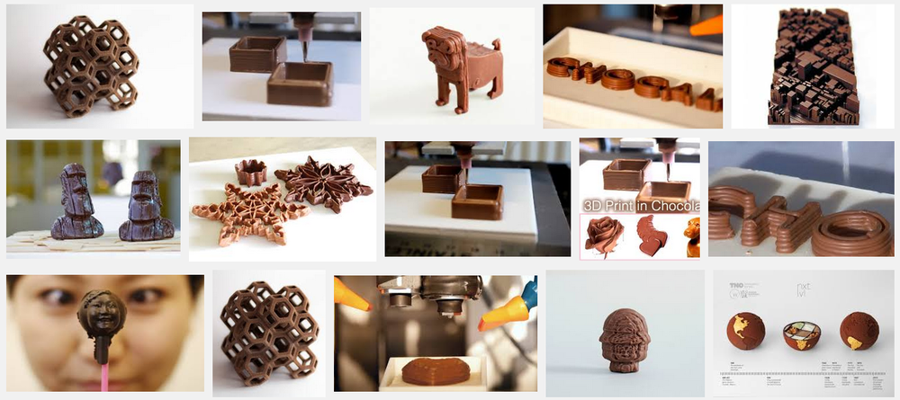 Google Search for 3D printed chocolate.
