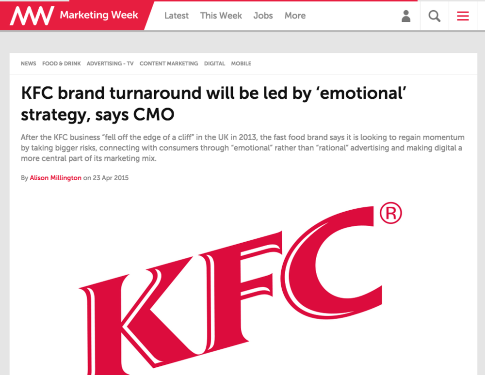 MarketingWeek:KFC brand turnaround will be led by 'emotional' strategy, says CMO