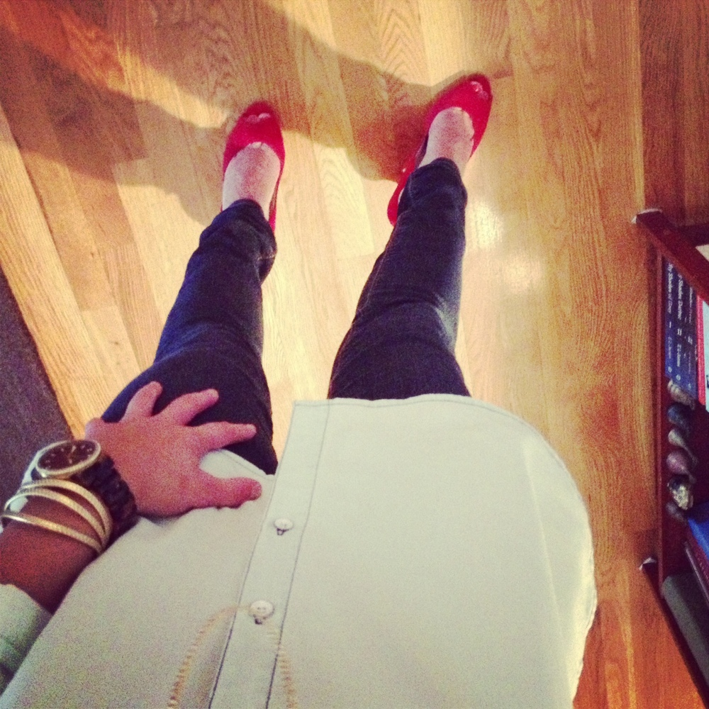 Red shoes on a rainy day