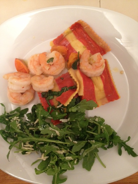 Crab/Lobster Rav w/ Shrimp & Arugula Salad. One of my fav specialties.