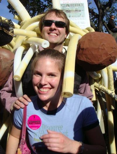 Me with the Flying Spaghetti Monster at the 'Rally to Restore Sanity'