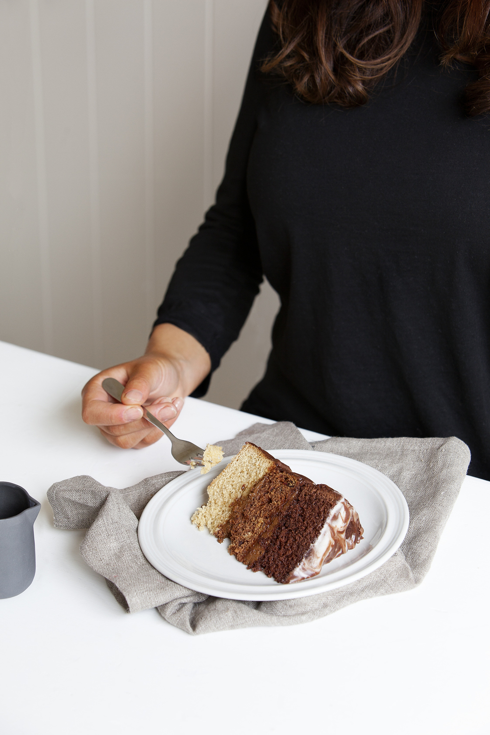 Chocolate, Mocha & Coffee Layer Cake // Kenkō Kitchen. Image taken from the Kenkō Kitchen Cookbook.   Australian edition   out now through Hardie Grant, out March/April through Hardie Grant UK and Rizzoli USA. Photography by  Elisa Watson , styling by Kate Bradley (Kenkō Kitchen) and Sally Bradley.