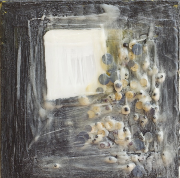 Reflections on the Future   ​2011 | encaustic, sequins and mirror on panel | 6 x 6 | $175