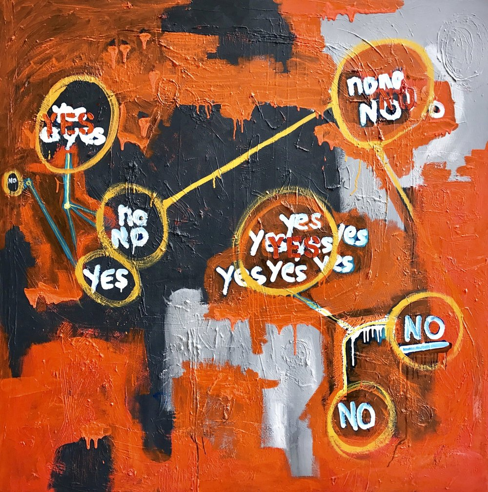 Too Much Data is Not Productive 3.0   2015 | oil on canvas | 48 x 48 | $3600