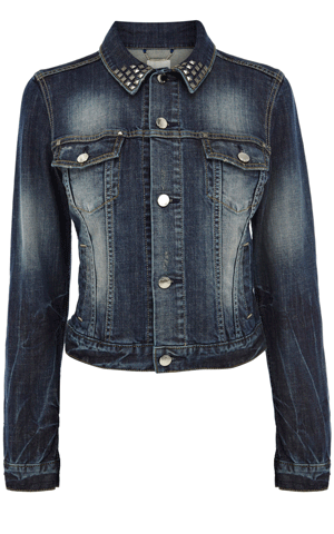 Karen Millen studded collar denim jacket  with 3/4 sleeves, $225