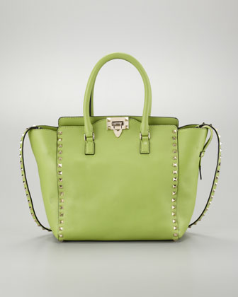 This apple green studded Valentino tote is on my wish list, $1895