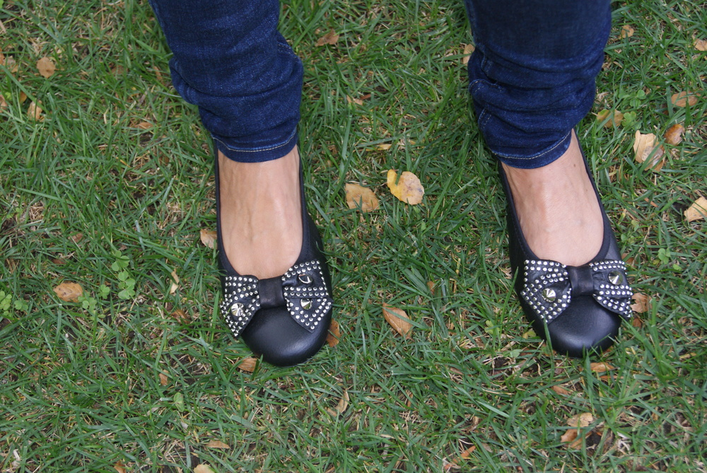 Cushiony soft shoes with studded bow detail by French Sole, fs/ny.