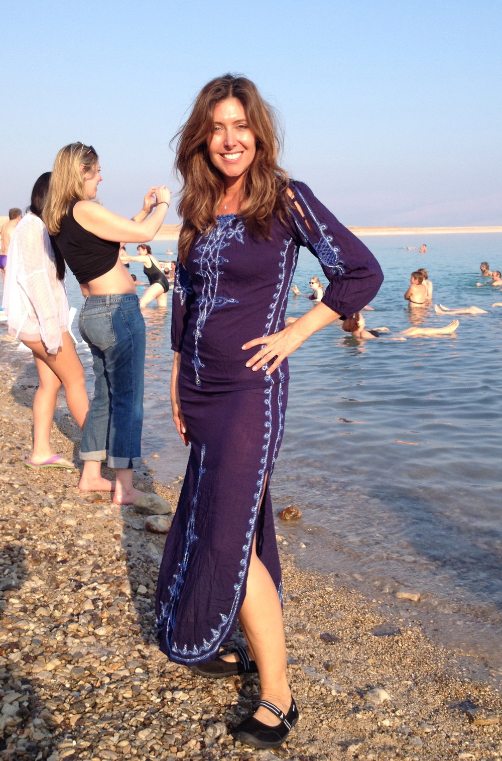 At the Dead Sea in Israel wearing my  Poupettte St. Barth  beach cover-up.