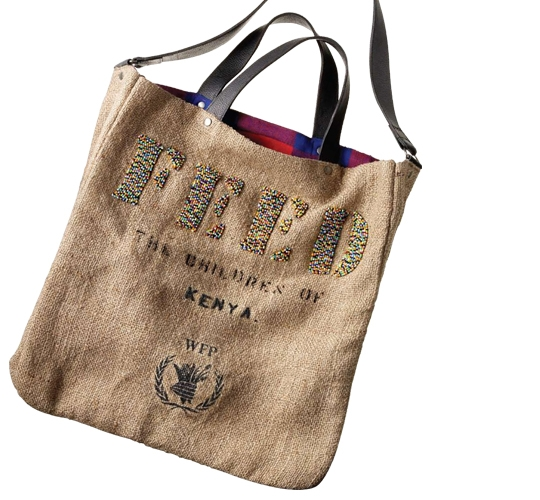 Feed 2 Kenya Bag, $250 . Made of burlap and cotton with hand-beaded FEED logo.