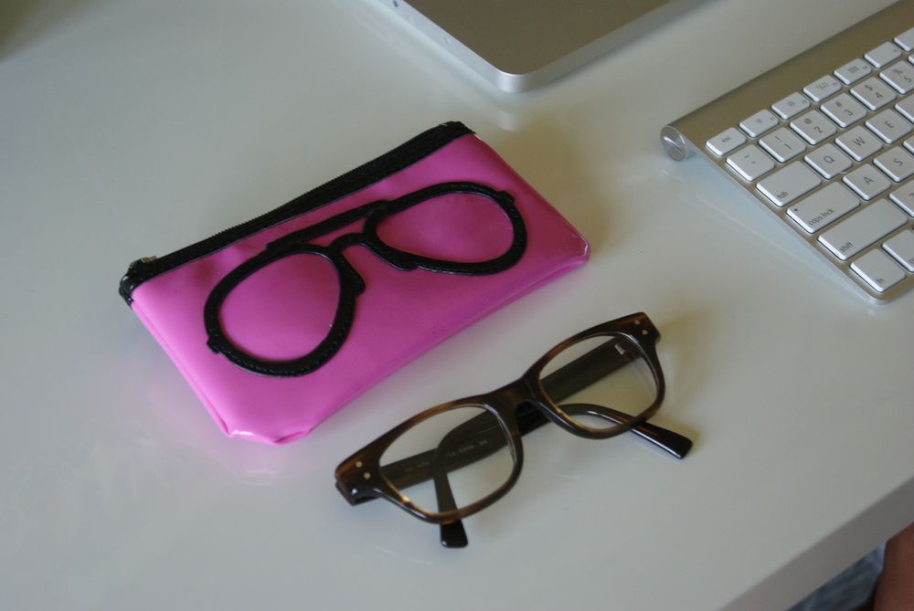 This soft, eyeglass pouch is fun and functional.  Available at Kitson by LA Cabana, $$14.95.