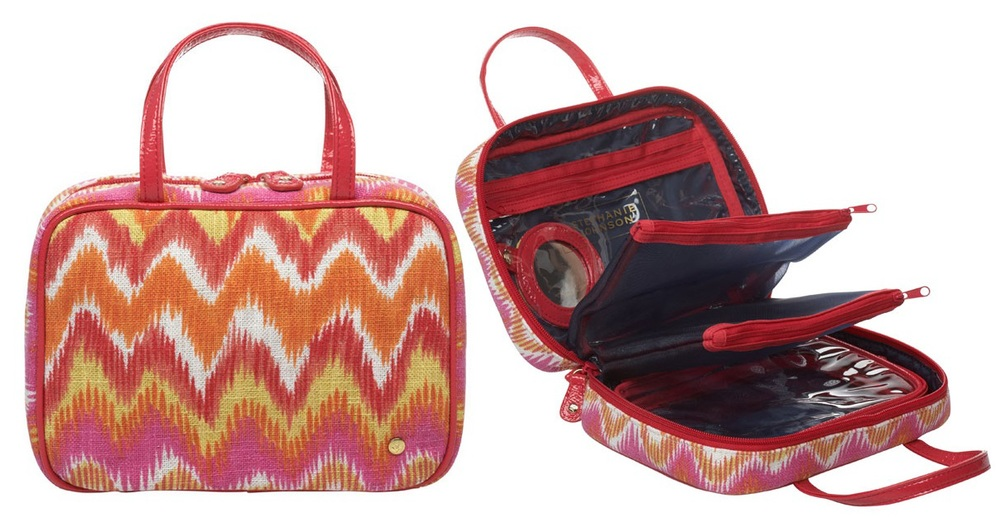 The perfect make-up case for travel or every day. Pockets are divided and removable.  Stephanie Johnson Traveler Bag  $85