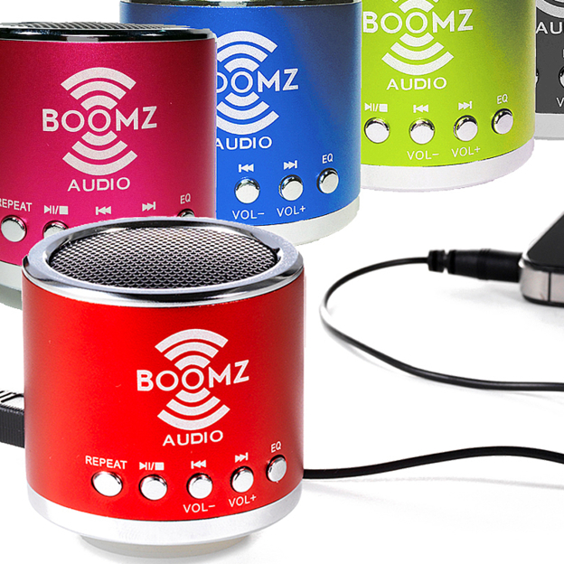 Great listening to your tunes in stereo while away.  Mini Portable Boomz Audio Speaker    $18