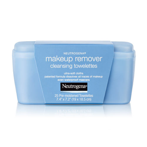 Neutrogena Makeup Remover Cleansing Towelettes  removes all make-up easily and without leaving a greasy residue. Even works well on removing water-proof mascara!