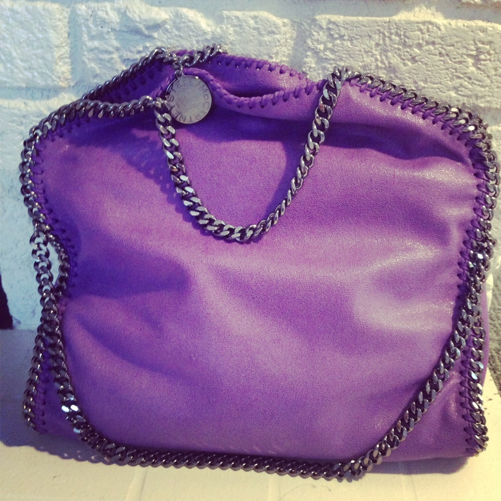 Stella McCartney faux purple Falabella bag. You can grab these on sale now too!
