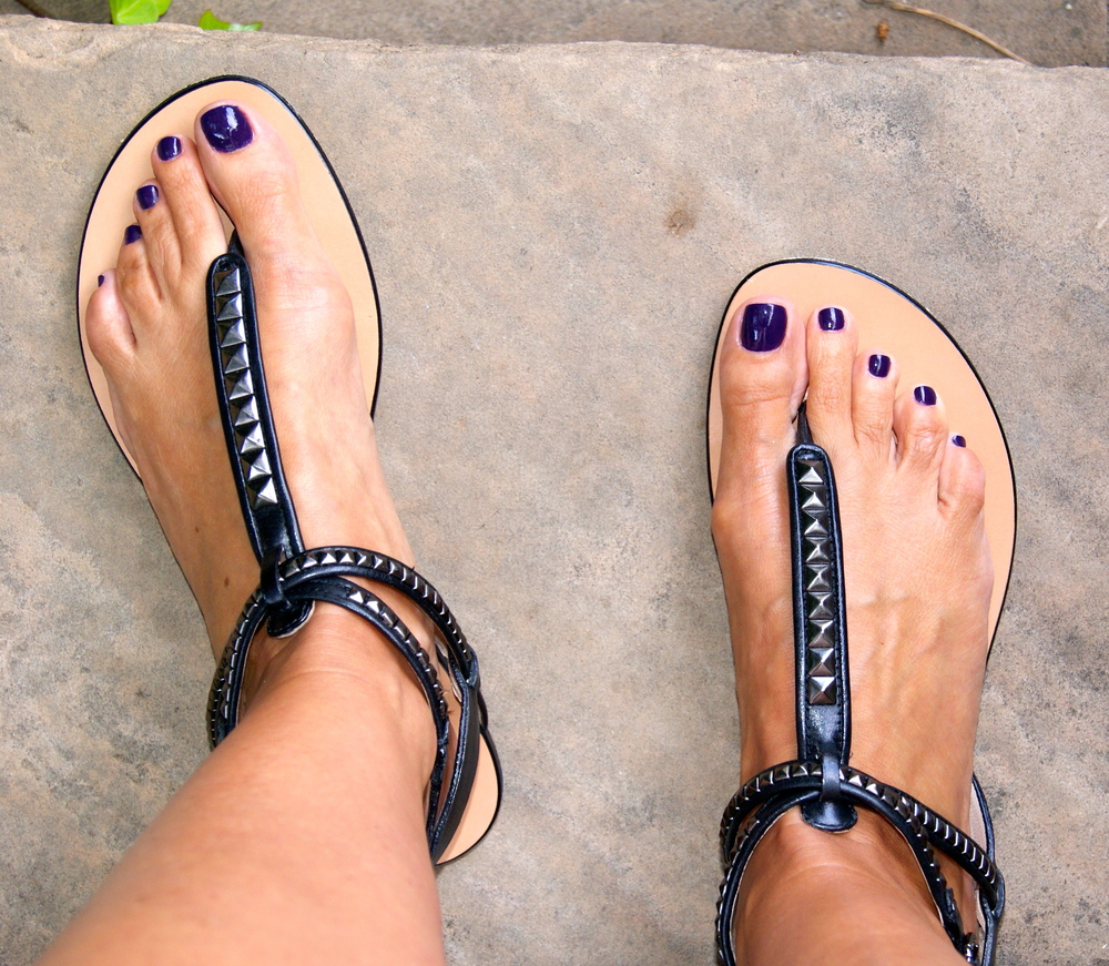 "Sandal details. Pedicure color by  OPI, ""Vant to Bite My Neck""."