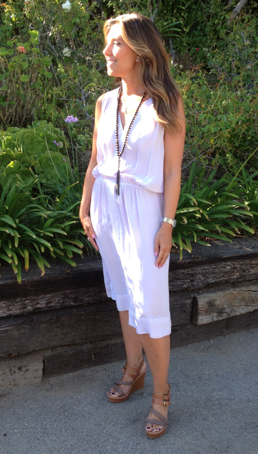 Dress:  A.L.C.  (no longer available). Shoes:  DV Dolce Vita Wedge Sandals, reg. $89; sale, $62.30