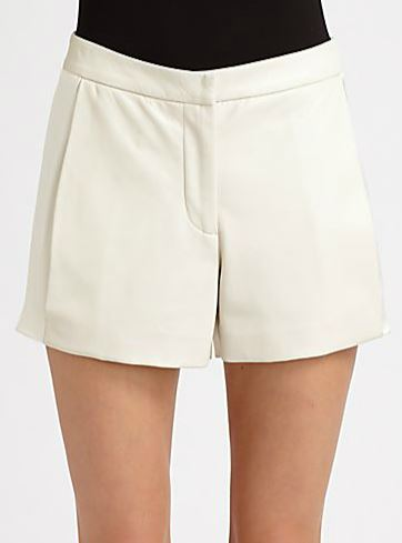 100% Silk Crepe Satin and Leather shorts: Ramy Brook, $395