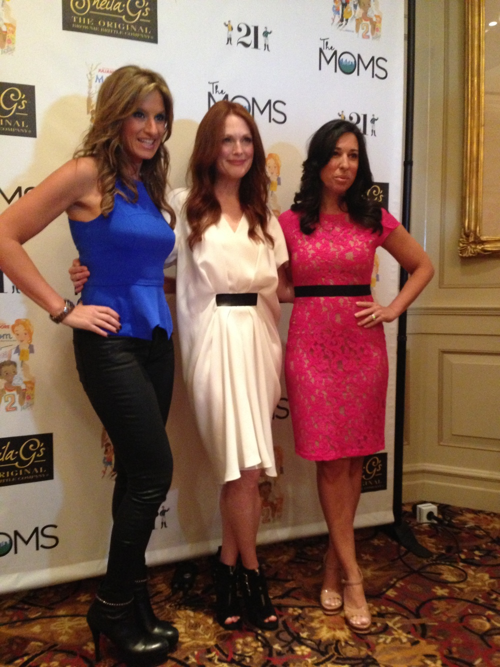 Julianne Moore with Denise Albert and Melissa Musen Gerstein, founders of The Moms. Julianne is wearing an Alexander Wang dress..love it!