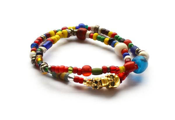 African trade bead double skull wrap bracelet, $95