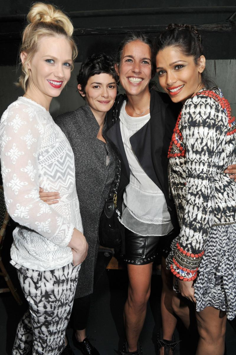 H&M and Isabel Marant fashion event in Paris:  January Jones, Audrey Tautou, Isabel Marant and Freida Pinto (left to right).