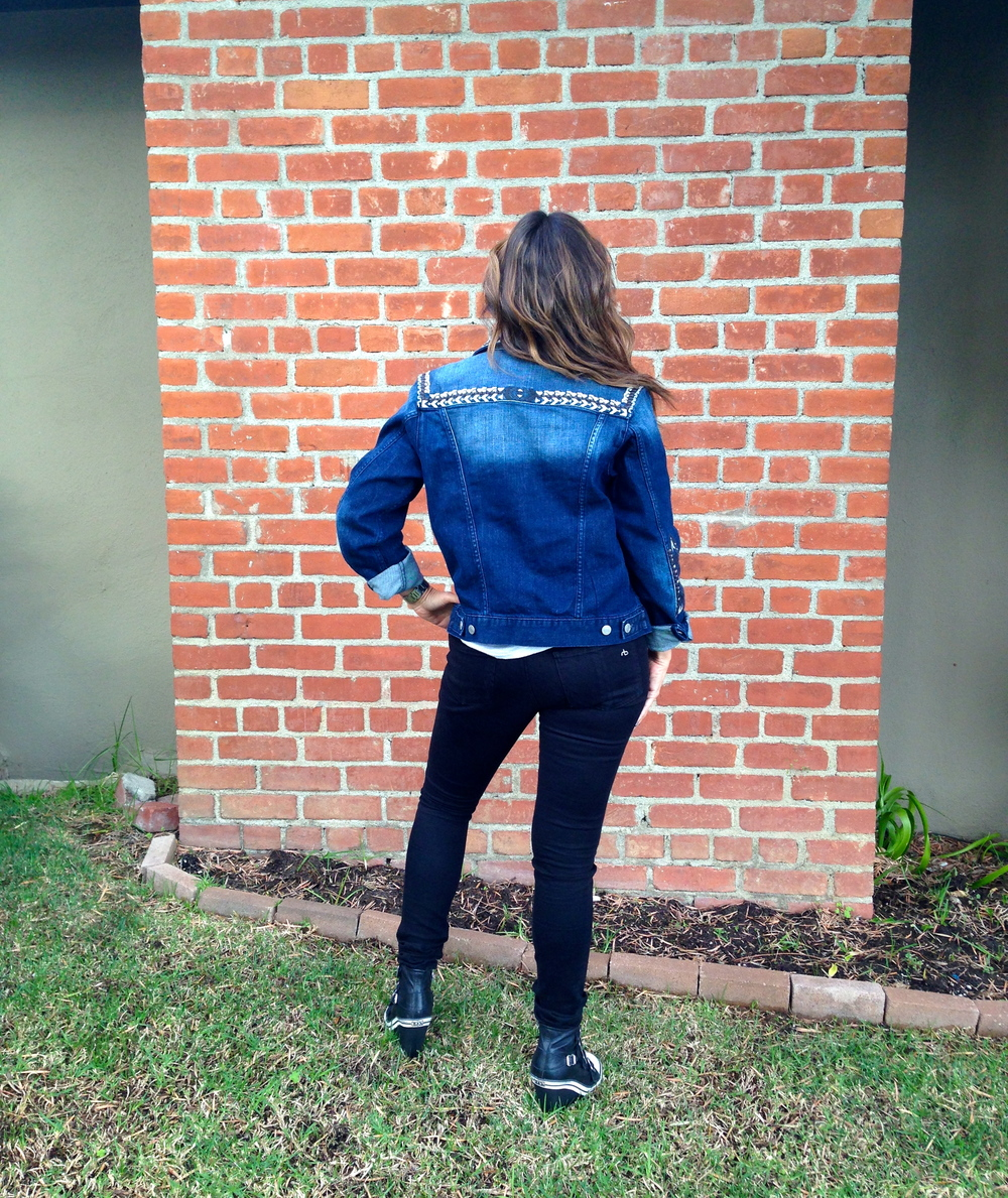 Back of the denim jacket details.