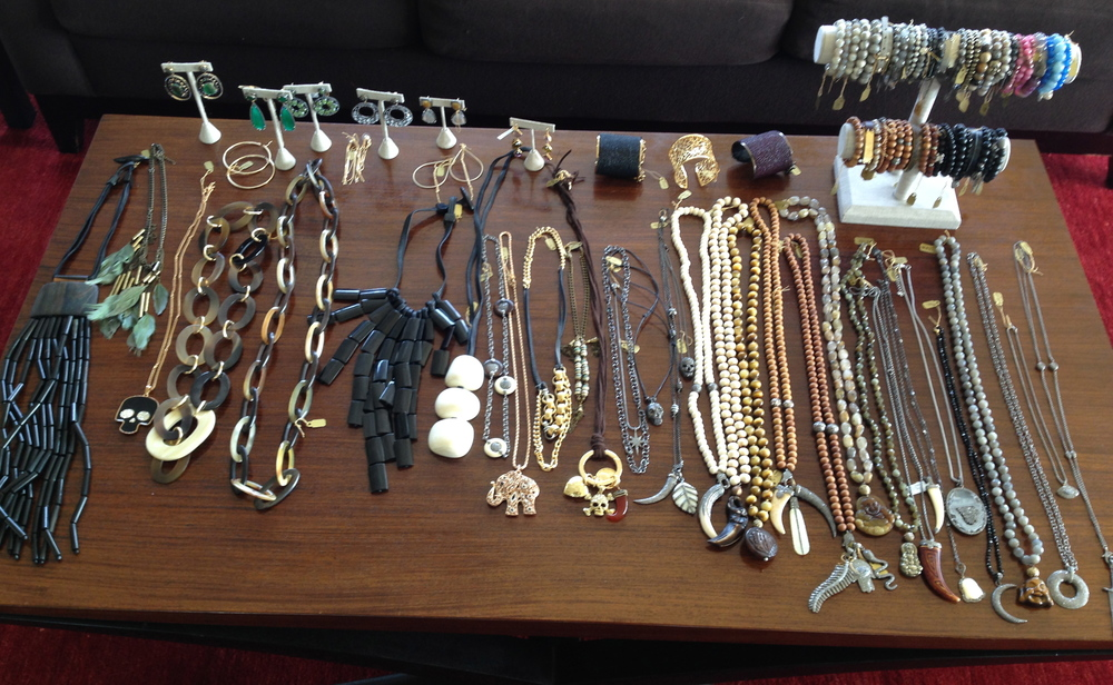 Necklaces and bracelets shown are a mix of real and costume jewelry. Prices range from $95-$2500.