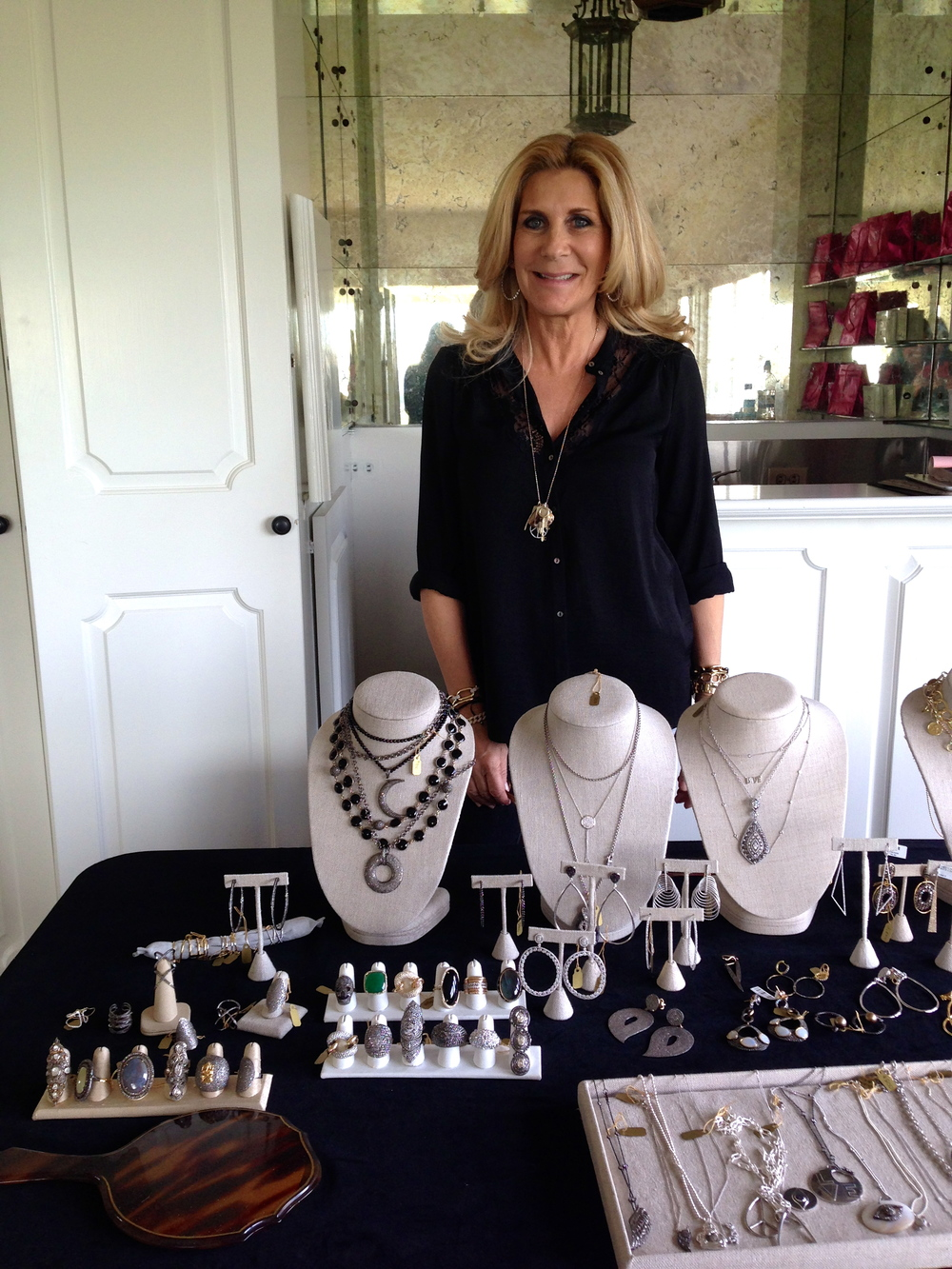 Kelly Gerber behind her fab jewels at the trunk show hosted at my home in Bel Air.