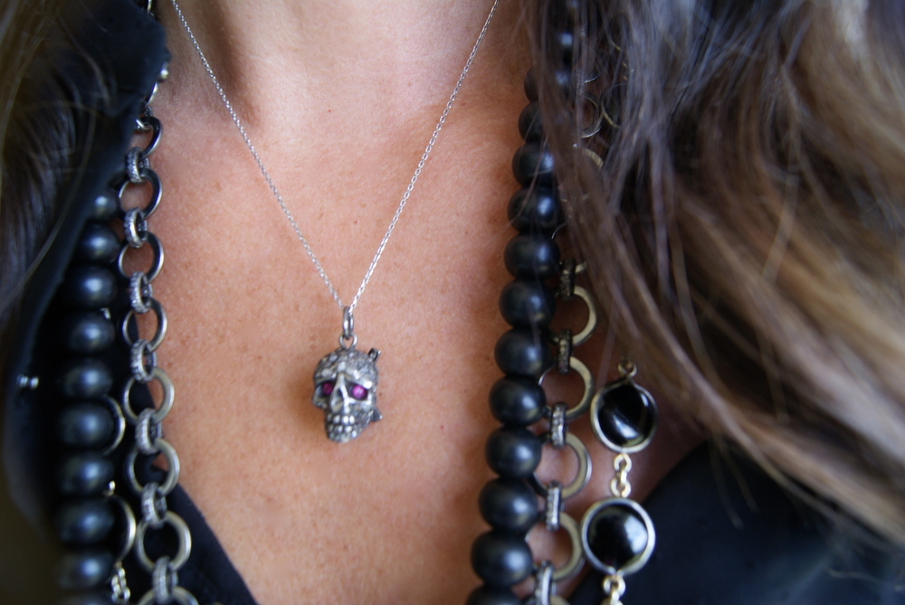 Kelly Gerber Jewelry: Skull with ruby eye necklace, $500.
