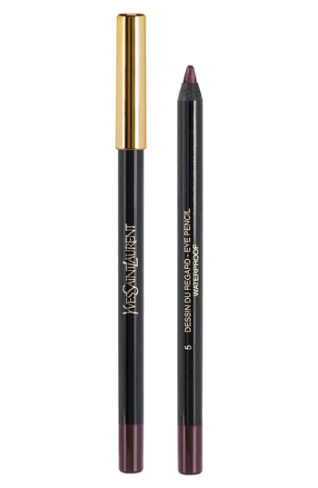 Yves Saint Laurent Dessin Du Regard Waterproof Long lasting eye pencil, $30.  Color 5: Shimmering Burgundy.