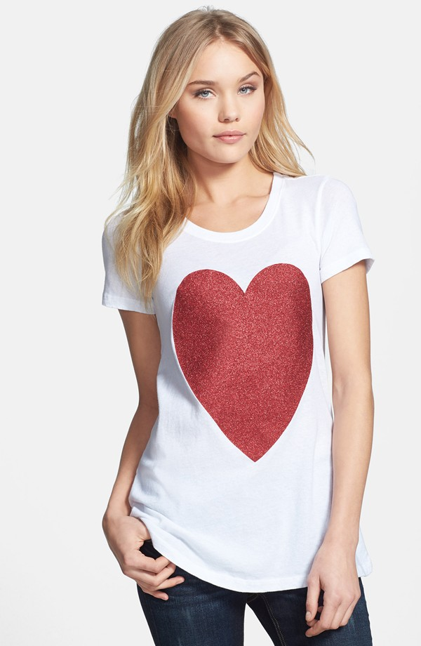 Wildfox 'Sparkle Heart' Crewneck Cotton Tee, $50