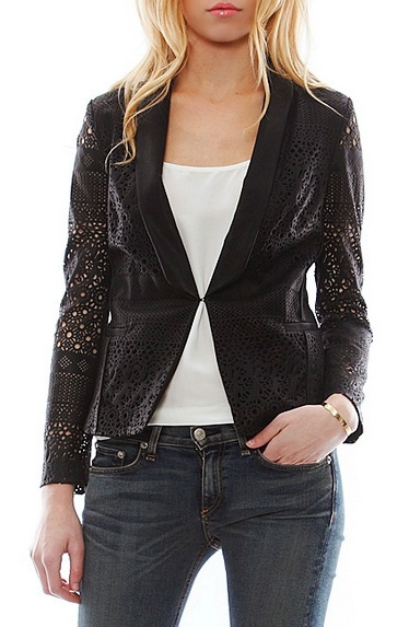 Dolce Vita Tacey Laser Cut Faux Leather Blazer in Black, $179