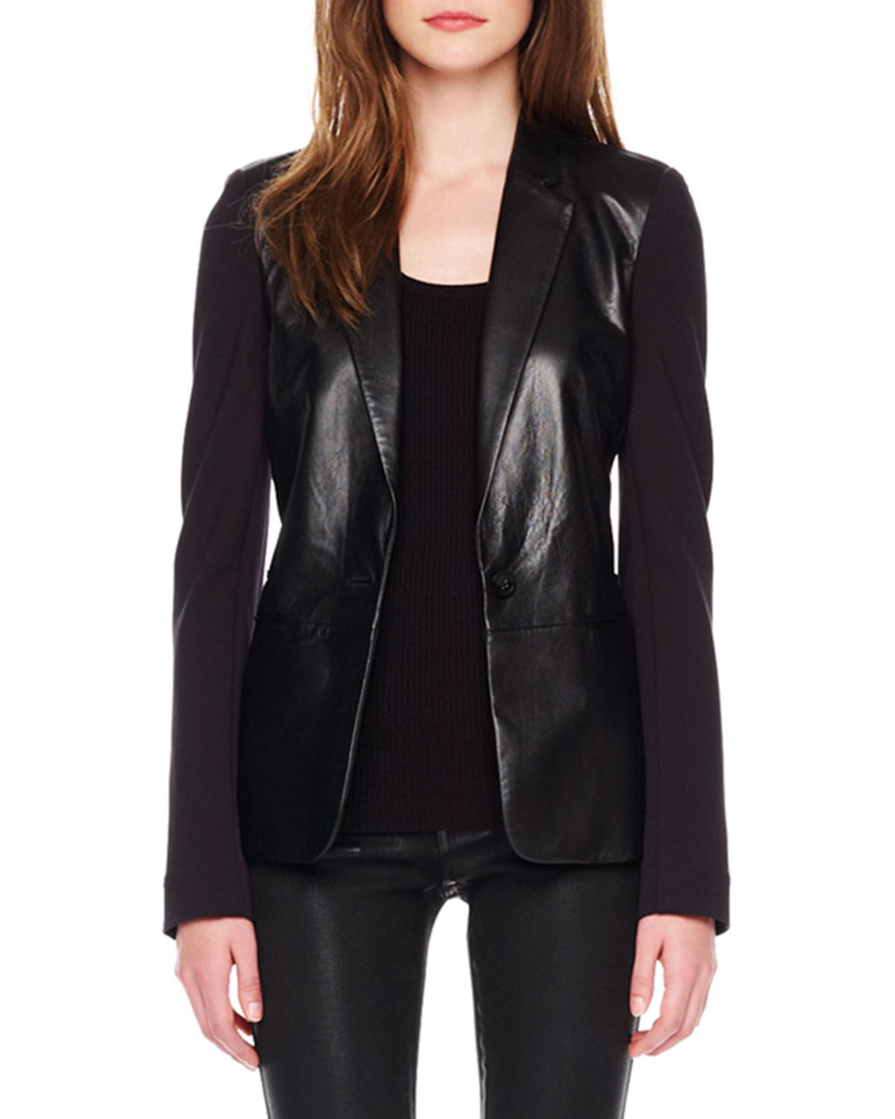 MICHAEL Michael Kors   Ponte/Leather Blazer & Waxed Skinny Jeans, $173