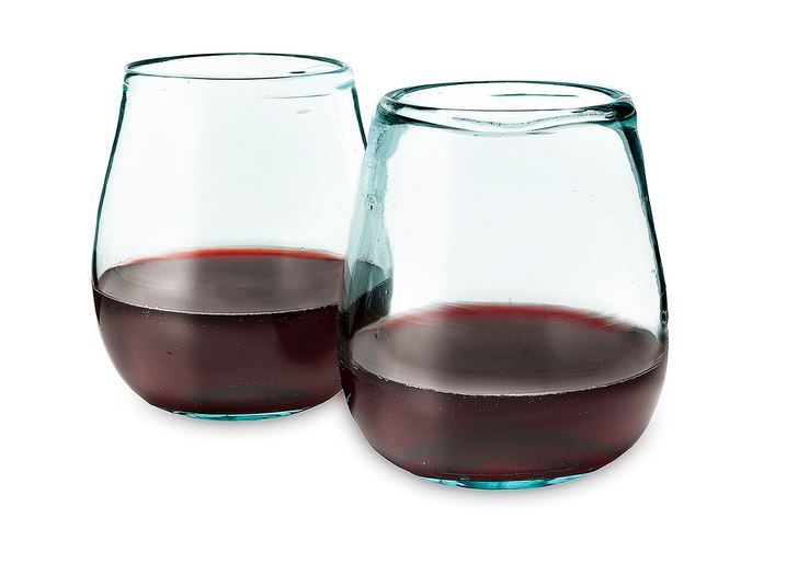 Recycled Wine Glasses, $32, Set of 2 from Uncommon Goods.