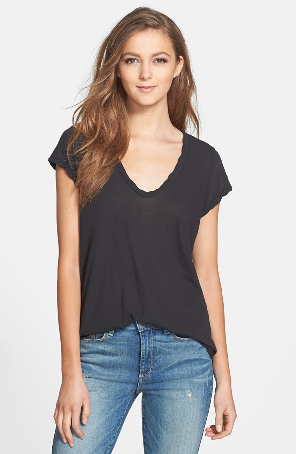 James Perse Deep V-Neck Cotton Tee, $85