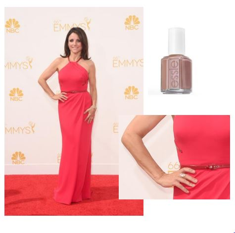 """Julia Louis-Dreyfus (Winner-Outstanding Lead Actress in a Comedy Series).Photo credit: Getty Images essie shade:mamba, $8.50 Inspiration: """"essie's mamba, a shimmering brown mauve, was the perfect shade for Julia's beautiful red gown,"""" said Celebrity Manicurist, Emi Kudo."""