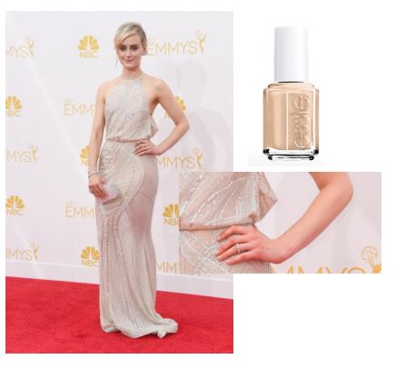 "Taylor Schilling (nominee).   Photo credit: Getty Images   essie shade:  cocktails & coconuts, $8.50.    Inspiration: ""Sometimes a perfectly opaque nude polish is the only way to go. We chose essie's cocktails & coconuts as it's elegant and chic for a night like the Emmys,"" said Celebrity Manicurist, Michelle Saunders."