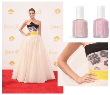 "A llison Williams (presenter) . Photo credit: Getty Images. essie shades:  vanity fairest, $8.50  and  hi maintenance, $8.50  Inspiration: ""Allison wanted to keep her nail look 'classic Hollywood' for the Emmys. We chose essie's vanity fairest layered over essie's hi maintenance for a clean, sheer pink manicure to compliment the pink in her dress,"" said Celebrity Manicurist, April Foreman."