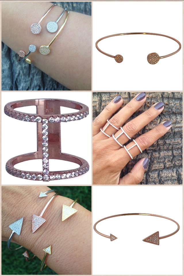 Pave Circle Bangle $65 each, Double Bar Ring $65, Pave Triangle Bracelet $65 each. Contact Esther@Essiecollection.com to purchase. Website coming soon!