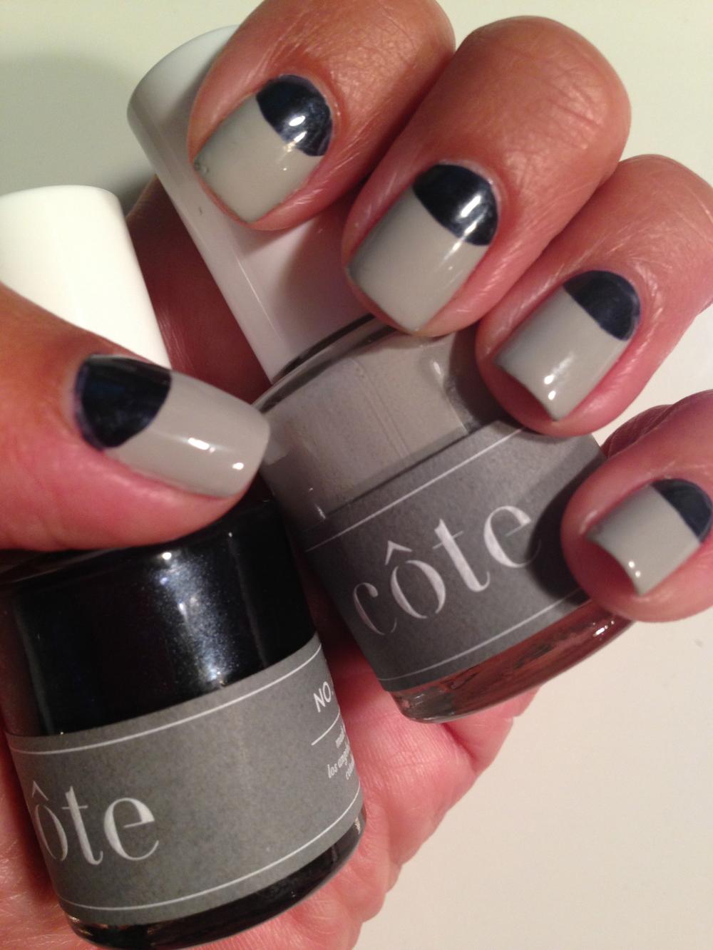 côte nail shades: No.102 (grey), and No. 76 (midnight blue)