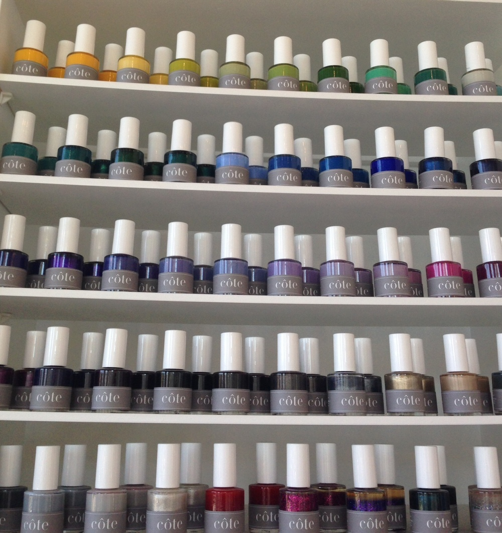 cote's fab hand-poured nail shades.  Nail polish is $16 per bottle and can be ordered on line at coteshop.co.