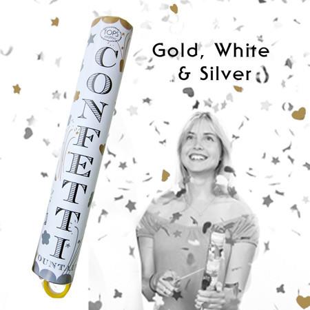 Confetti Fountain in white, gold and silver, $11.50.