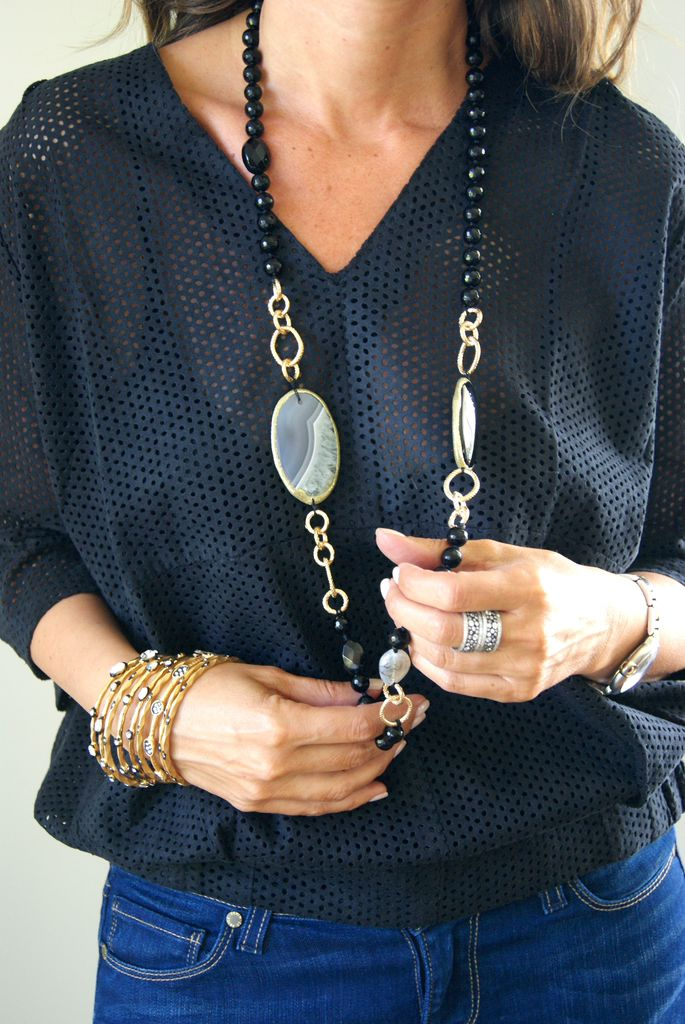 Long Natural Stone Necklace (different variations)$180. Bangle Bracelets (set of 3) $75.