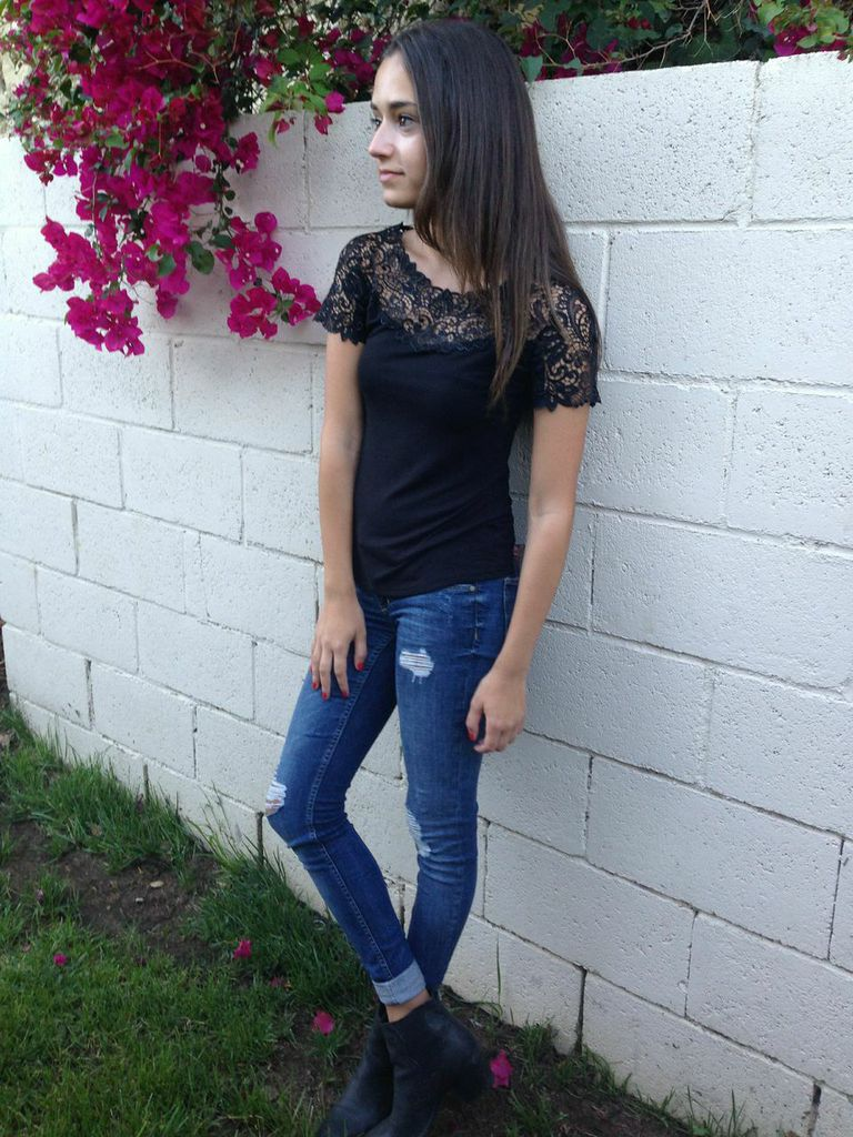 T-Shirt with Lace (Black, White, Sapphire Blue), $75