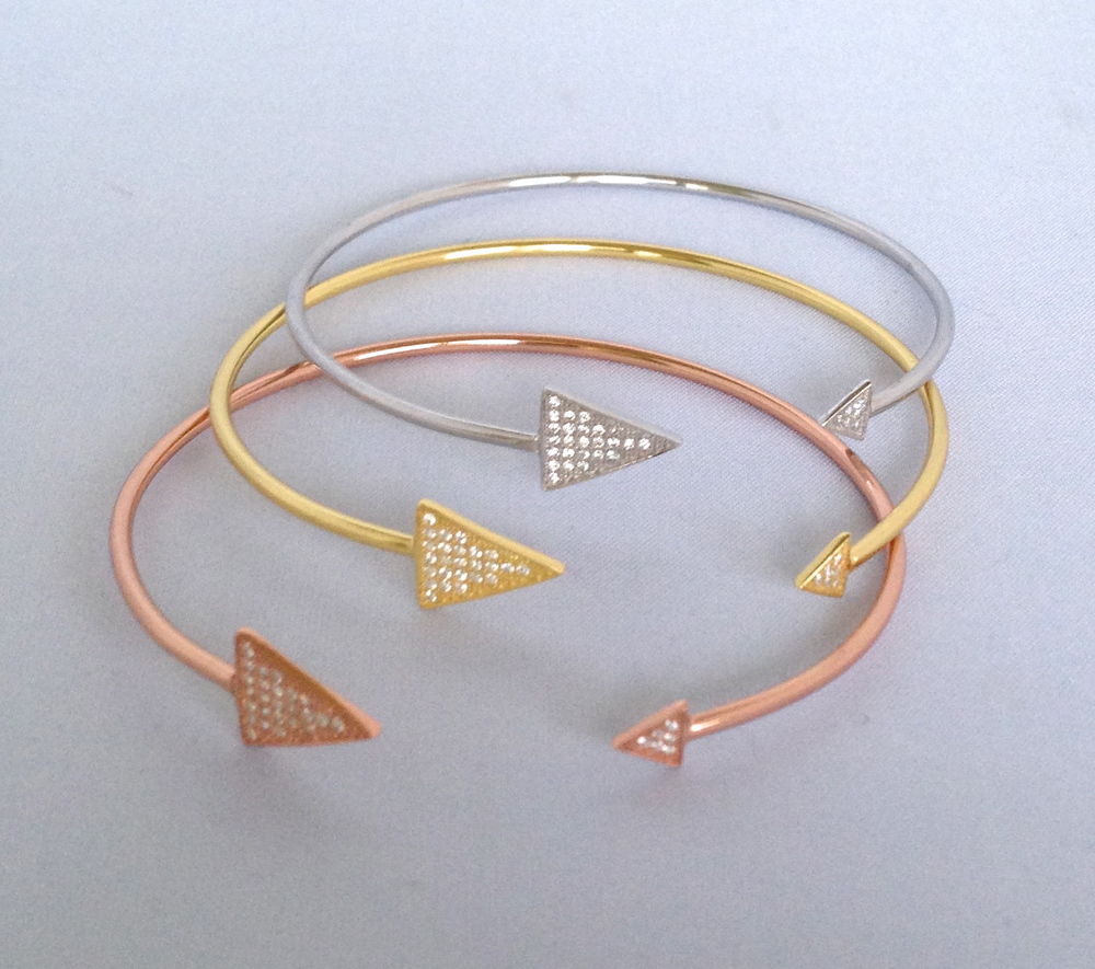 Essie Collection Thin Bangle with Triangle Pave, $65 each
