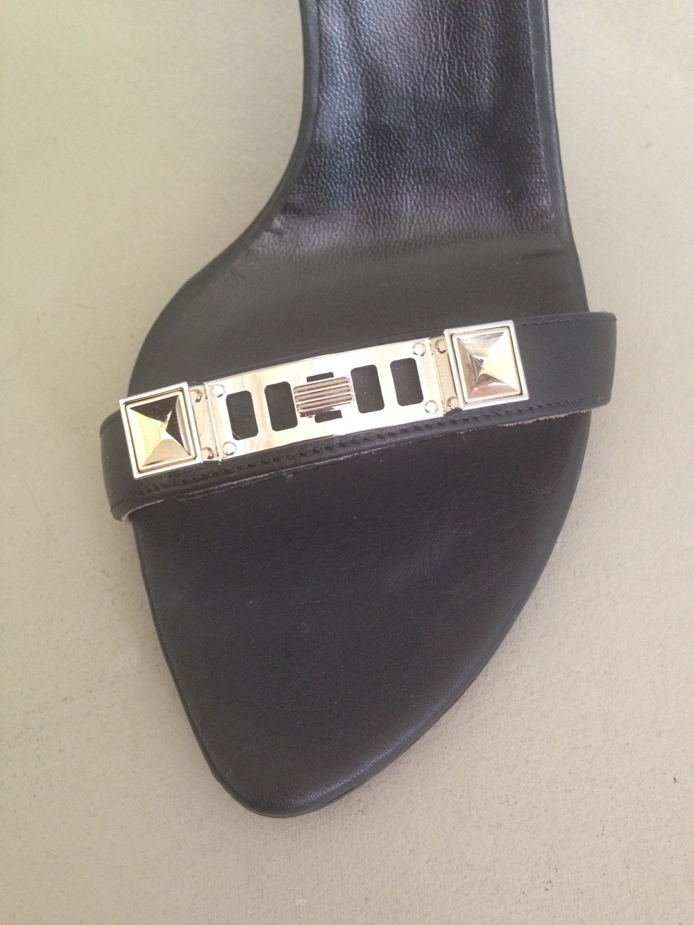 Proenza Schouler PS1 Leather Ankle-Strap Sandal, $ 595.  On sale for $417.  I love the toe shape and the hardware!