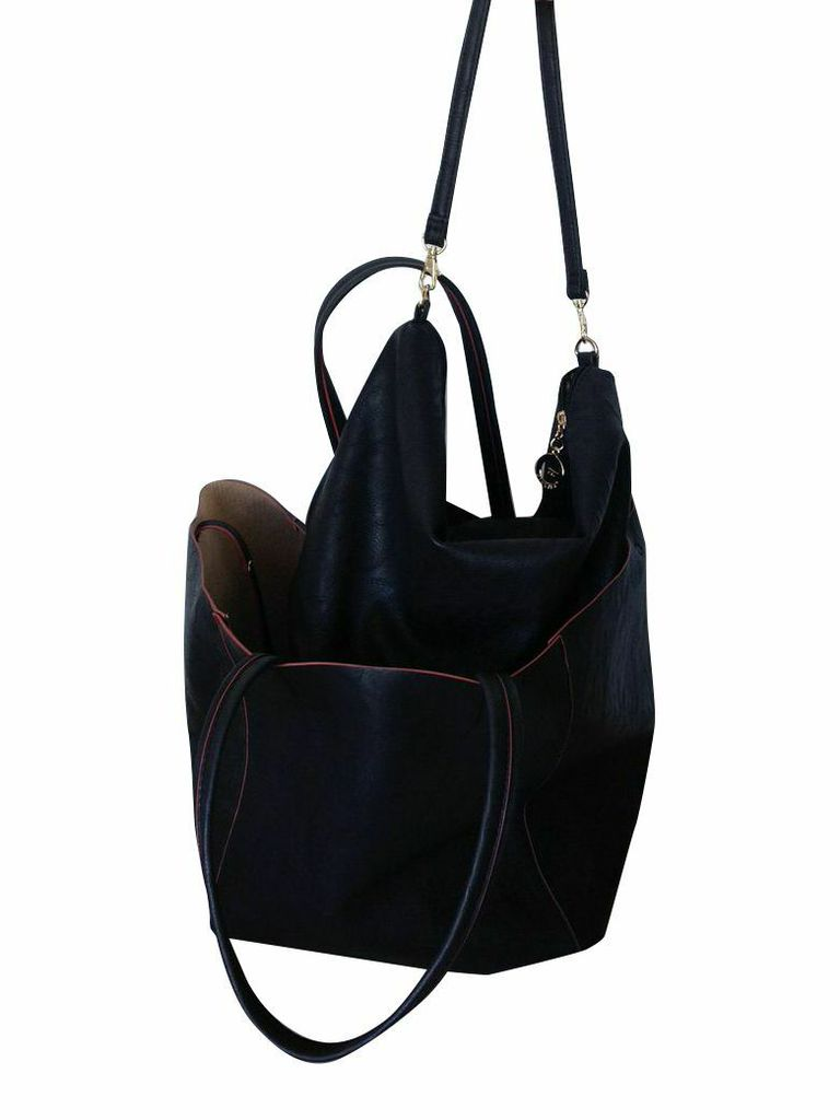 Essie Collection  tote bag shown with slouchy bag inside, $140.